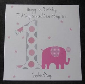 Personalised Girls 1st First Birthday Card Daughter