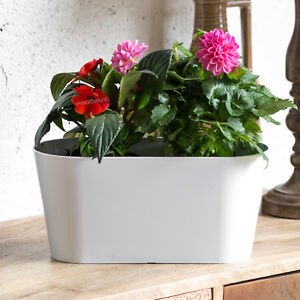 kitchen window box sliding shelves for cabinets white oval outdoor garden plant pot cover planter trough herb image is loading