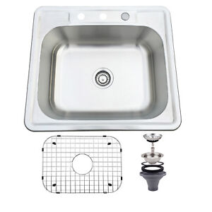 ebay kitchen sinks non slip shoes 25 x 22 single bowl stainless steel sink 16 gauge drop image is loading 039
