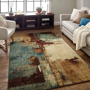 details about 8x10 7 6 x 10 contemporary modern abstract aqua teal area rug