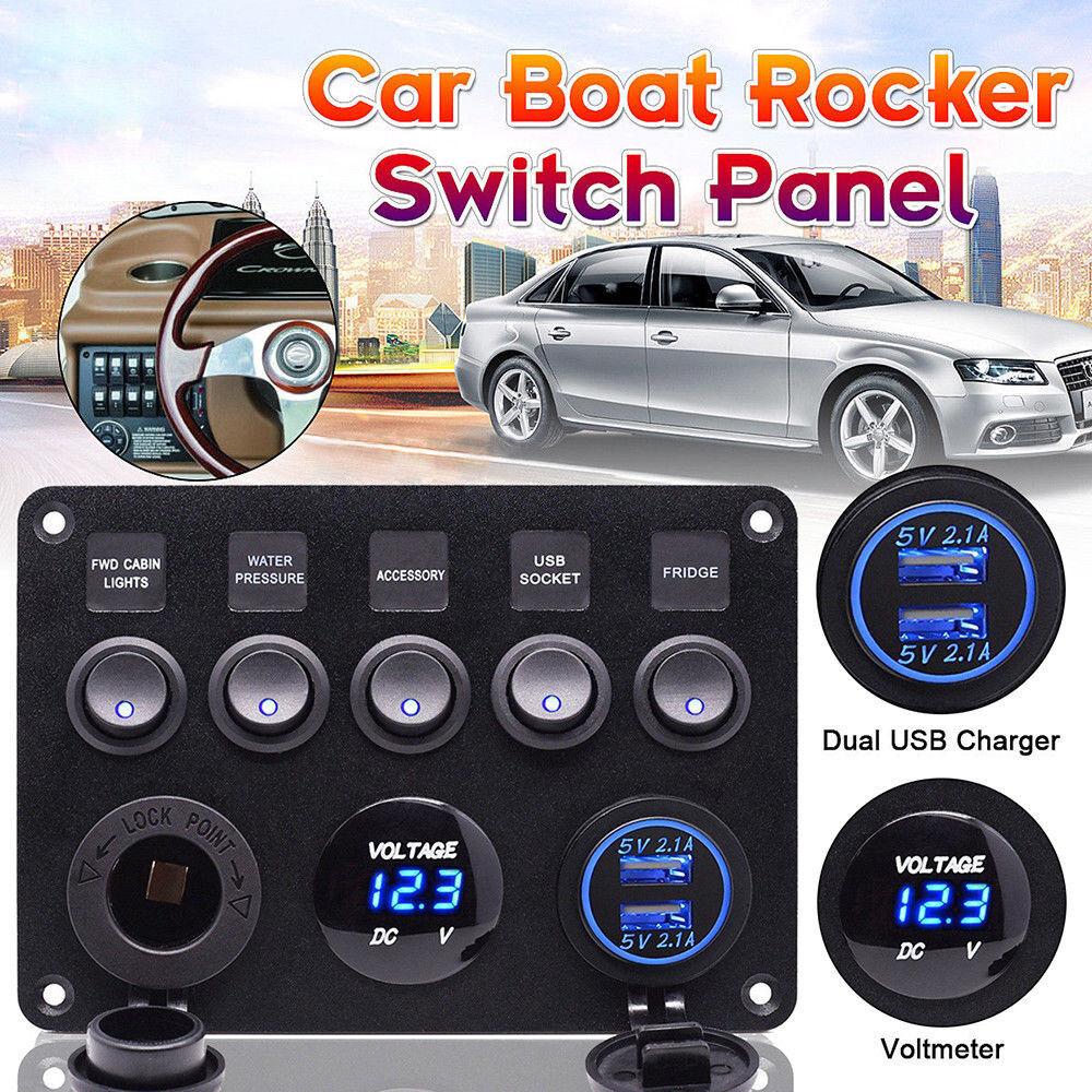 hight resolution of details about 12v 24v inline fuse box led rocker switch panel 2 usb charger socket boat marine