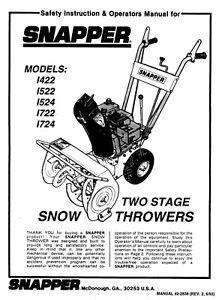 SNAPPER SNOWTHROWER AUGER I422, I522,I524,I722 & I724