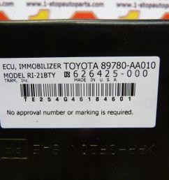 04 05 06 07 toyota solara immobilizer theft locking control module 89780 aa 010 ebay [ 1600 x 1200 Pixel ]