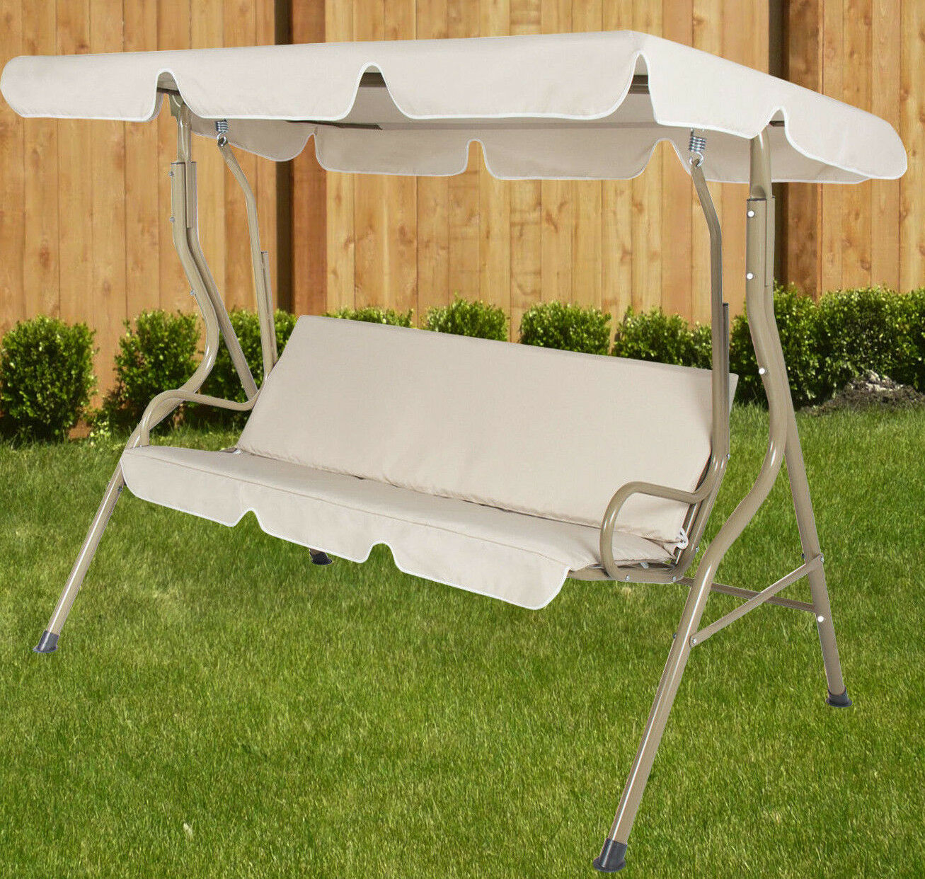Outdoor Chair With Canopy Outdoor 2 Person Beige Canopy Swing Hammock Seat Backyard