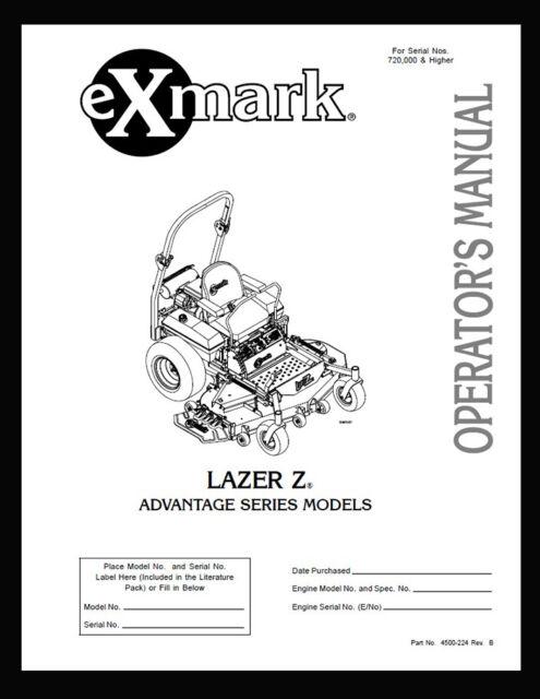 eXmark Lazer Z AS Operators-Part List-Diagrams LAS25KC604