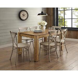 distressed kitchen chairs armoire 7 piece rustic brown dining room set furniture image is loading