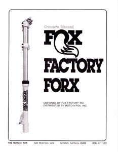 Fox Factory Forx 44mm Forks Motorcycle Owners Manual Copy