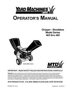MTD Wood Chipper 462 thru 465 Shredder Operator