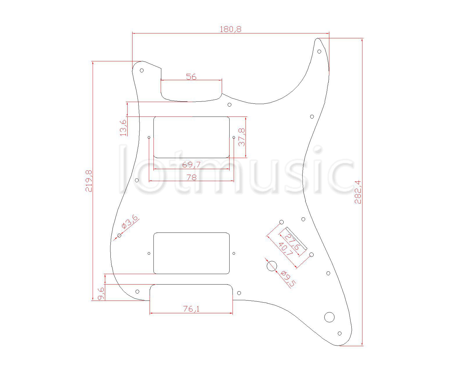 Guitar Pickguard For Fender Strat Replacement Hh Humbucker