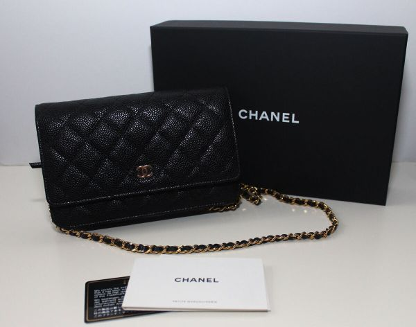 Chanel Cc Quilted Wallet Chain Caviar Woc Black
