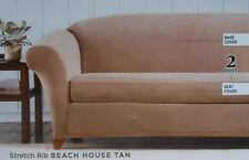 beach house sofa slipcover best brand in the world sure fit stretch rib 2 pc color tan ebay item 4 surefit nip