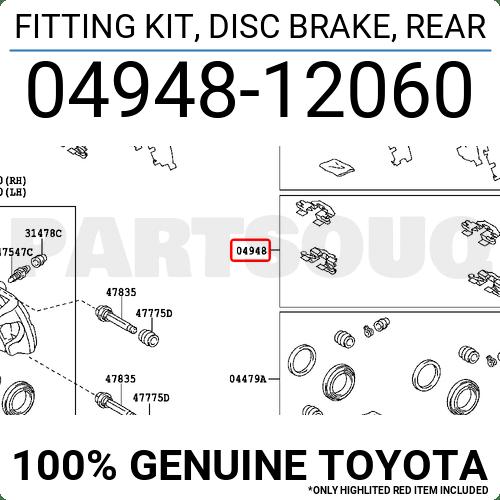 0494812060 Genuine Toyota FITTING KIT, DISC BRAKE, REAR