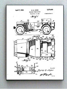 Framed 8.5 X 11 Jeep Vehicle Original Patent Diagram Plans