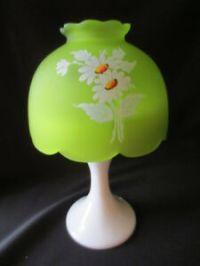 Westmoreland Glass Hand painted Spring Daisies Fairy Lamp ...