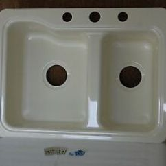 Rv Kitchen Sink Cost Of Island Parchment 25 X 19 60 40 Smart Divide Double Basin Image Is Loading 034