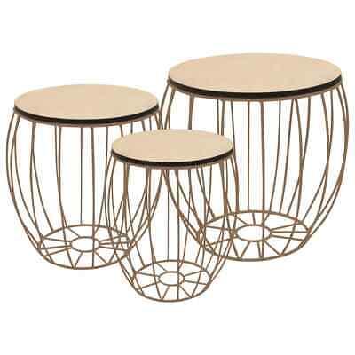 vidaxl 3x table basse contreplaque de peuplier fer canape salon table gigogne ebay