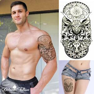 Detalles De Realista Tatuaje Temporal Noble Ciervo Venado Negro Para Hombres Mujeres Niños Grandes Ver Título Original