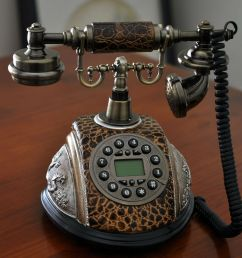brown antique phone vintage retro dial classic old fashioned lcd telephone home [ 1600 x 1253 Pixel ]