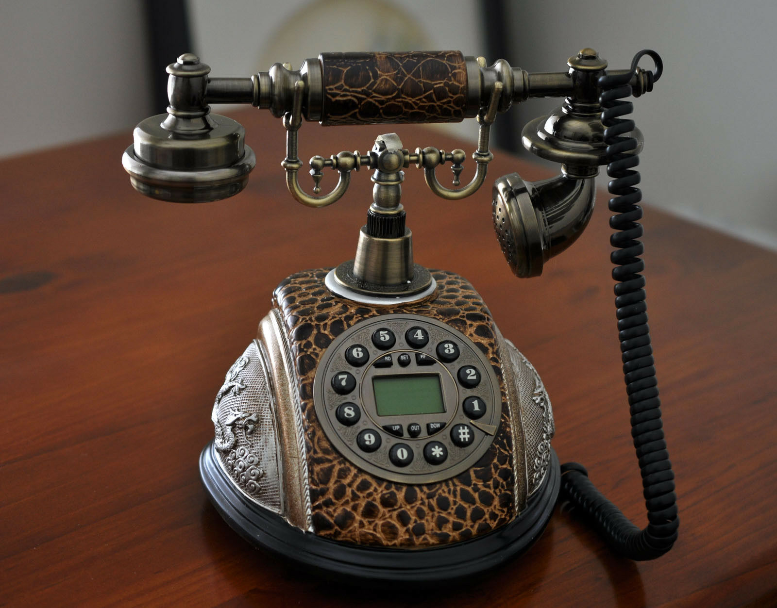 hight resolution of brown antique phone vintage retro dial classic old fashioned lcd telephone home