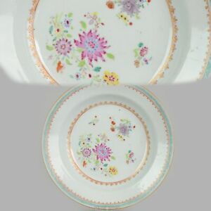 Antique Chinese 18C Famille Rose plate Flowers green Enamels China