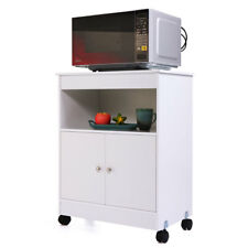 kitchen microwave cart apartment cabinets 4 casters white wood cabinet shelf storage space saver
