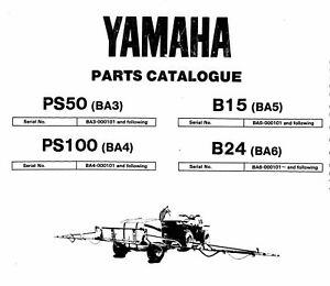 Yamaha PS50 PS100 B15 B24 Farm Sprayer Parts List Catalog