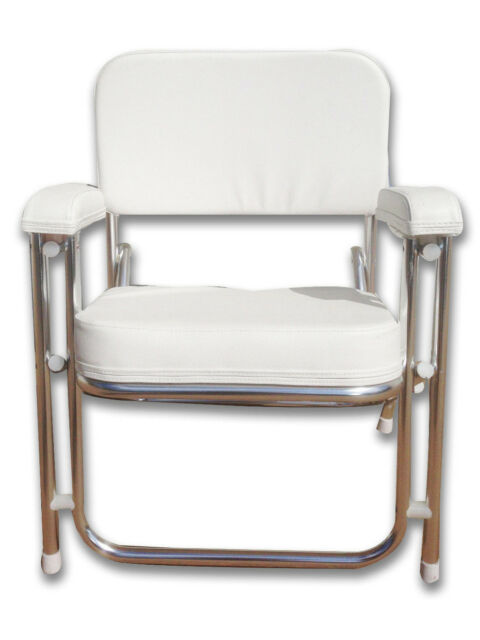 marine deck chairs folding outdoor camping pactrade chair white uv resistant vinyl 1 anodized aluminum ebay