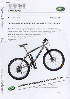 Land Rover 'All Terrain Cycle Range' Press Release