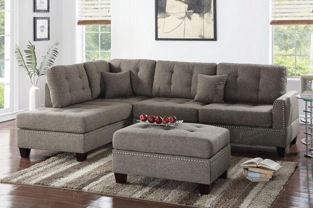 3pcs modern coffee polyfiber fabric reversible sectional sofa chaise ottoman set