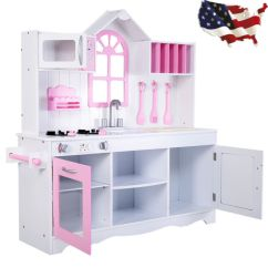 Wood Kitchen Playsets Unfinished Pine Cabinets Child Kids Playset Toy Cooking Pretend Play Set Toddler Wooden New