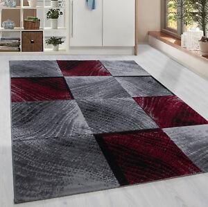 details sur a poils ras tapis carreaux tuile motif tapis salon gris noir rouge mouchete
