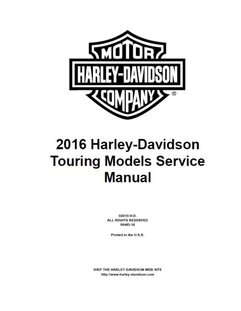 2015-2020 Harley Davidson Touring Models Service Manual