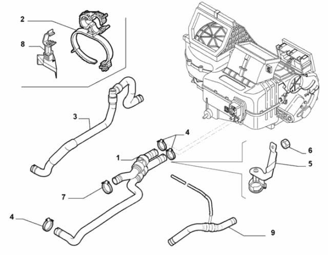 Fiat PUNTO Mk2 1.2 8v BULK Head Heater Matrix Hose Pipes