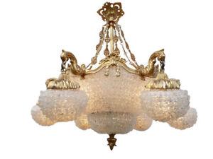 details sur lustre style baroque lustre monte carlo blanc bronze et pastilles de verre