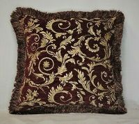 large burgundy red gold leaf decorative fringed throw ...