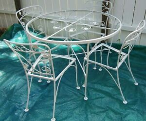 details about vintage metal patio table and 4 chairs no seats by john salterini style