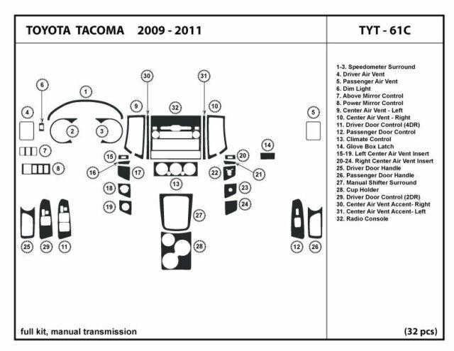 Dash Trim Kit for Toyota TACOMA 09-11 2/4 doors, w/ manual