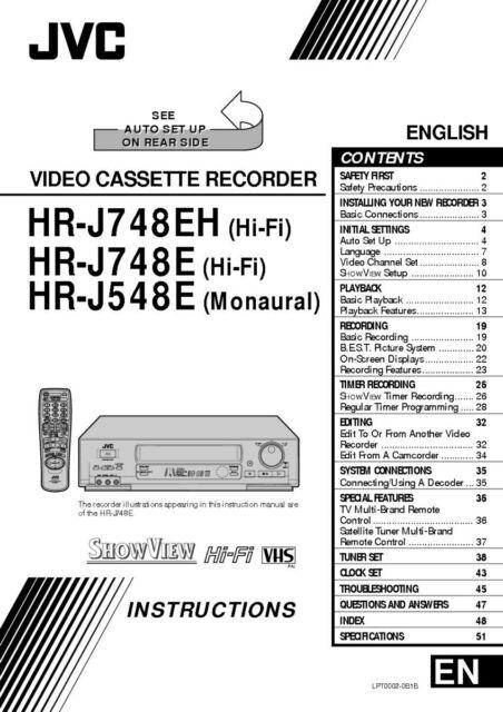 JVC HR-J748EH HR-J748E HR-J548E VCR Owners Instruction