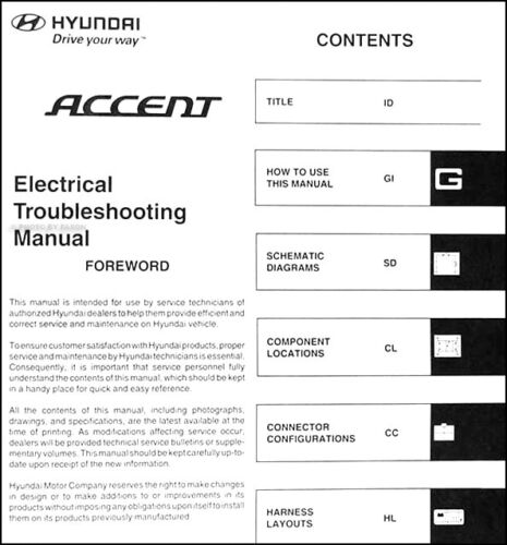 2006 hyundai accent electrical troubleshooting manual wiring
