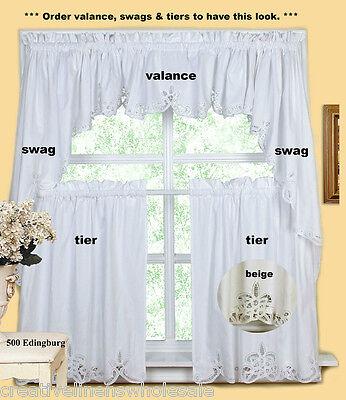 battenburg lace kitchen curtain valance tier swag ecru beige creative linens ebay