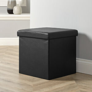 details about folding ottoman black faux leather chest solid sturdy storage space saving box