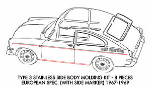New VW Type 3 Body Molding Kit Stainless Steel 1967-1969