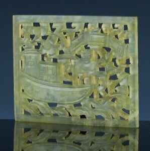 ANTIQUE CHINESE GREEN YELLOW JADE HARDSTONE FISHERMAN LANDSCAPE PLAQUE PENDANT