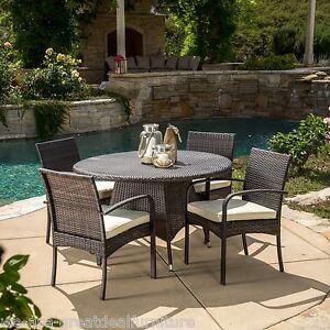 round outdoor wicker patio furniture set (5-Piece) Outdoor Patio Furniture Multi-Brown Wicker Round