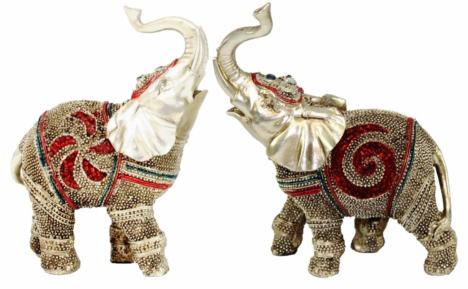 """Feng Shui Pair Of 5"""" Elegant Elephant Statue Lucky"""