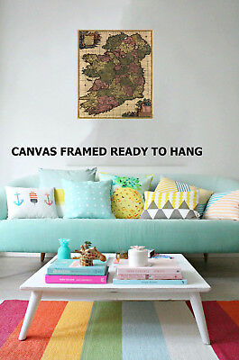 framed wall pictures for living room ireland design ideas small art print vintage painting map irish canvas australia
