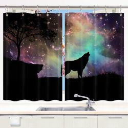 Galaxy Wolf and Stars Fantasy Kitchen Curtains Window Drapes 2 Panels Set 55x39 eBay