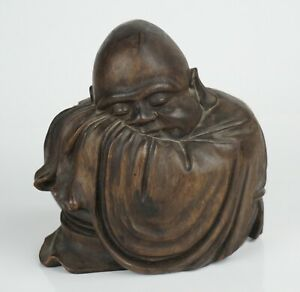 Antique Chinese Wooden Carved Figurine Sleeping Buddha Luohan 19th C QING