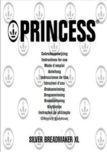 Princess Bread Machine Manual 1934N 1935 1937 1938 1939