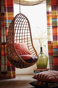 hanging chair lahore design drawing cane handmade wicker swing ebay image is loading